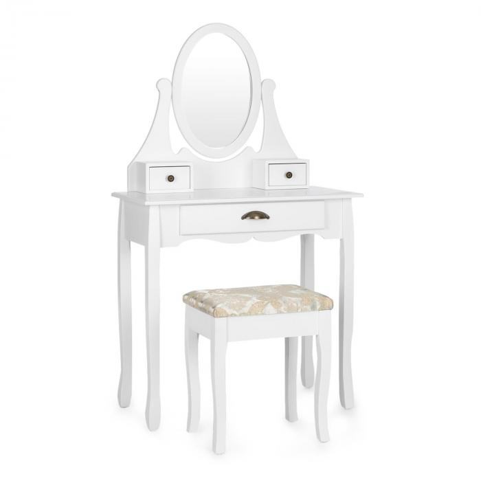 Miss Leonore meikkipöytä kääntyvä peili 3 laatikostoa valkoinen