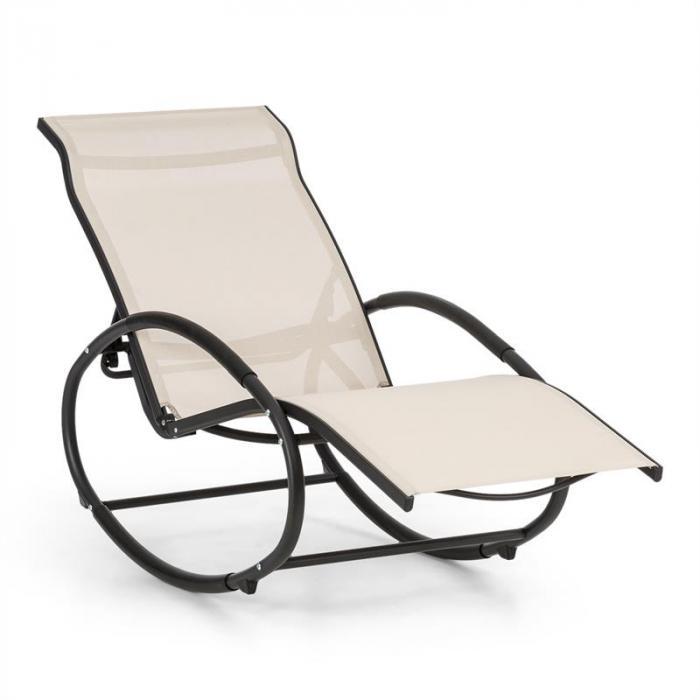 Santorini Fauteuil Bascule Chaise Longue Aluminium Polyester Beige