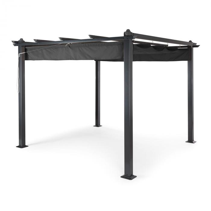 pantheon 3x3 pergola vordach 3x3m aluminium sonnendach polyester grau online kaufen. Black Bedroom Furniture Sets. Home Design Ideas