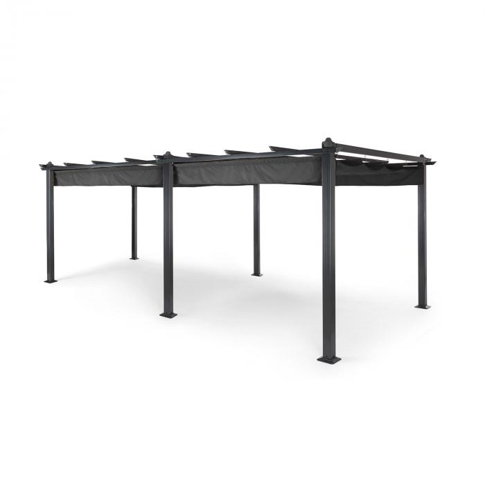 pantheon 3x6 pergola vordach 3x6m aluminium sonnendach polyester grau online kaufen. Black Bedroom Furniture Sets. Home Design Ideas