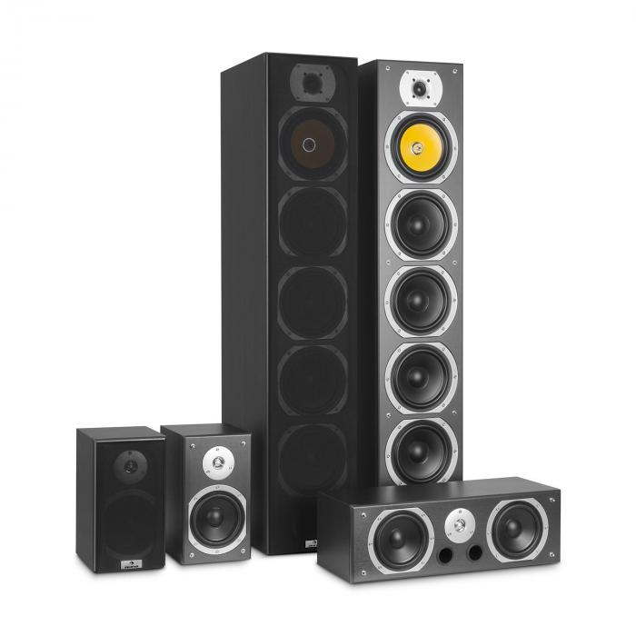 V9B Set Altoparlanti Surround 5 Casse 440W RMS nero