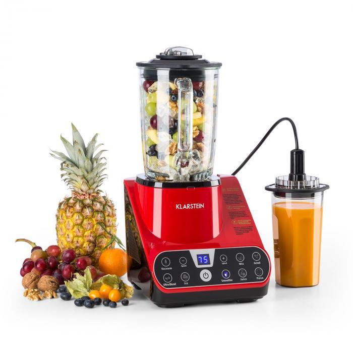 Airakles Vakuum-Standmixer 1300 W 1,8 PS 26000 U/min 1,5 l Glaskanne rot
