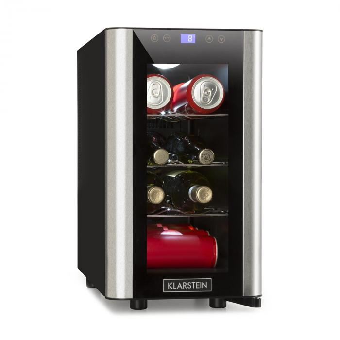 Vinovista Picollo Frigo per Bevande 24l 8 Bot. LED Porta in Vetro Acciaio Inox
