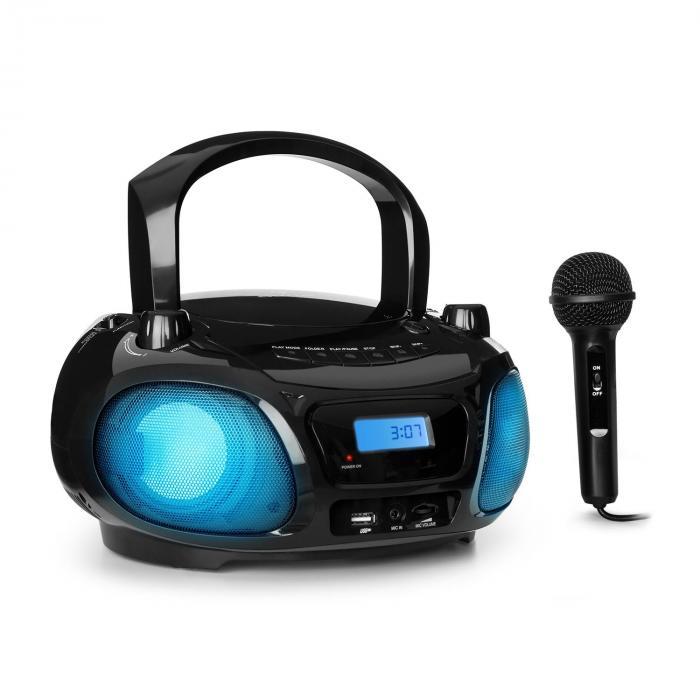 Roadie Sing CD boombox FM-radio ljusshow CD-player mikrofon svart