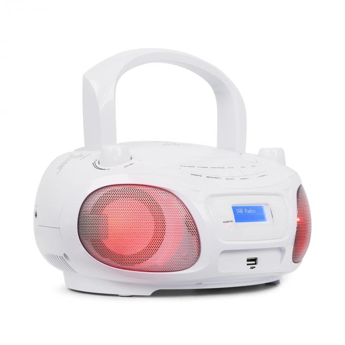 Auna Roadie DAB odtwarzacz CD DAB/DAB+ UKF LED Disco Light Effect USB Bluetooth biały
