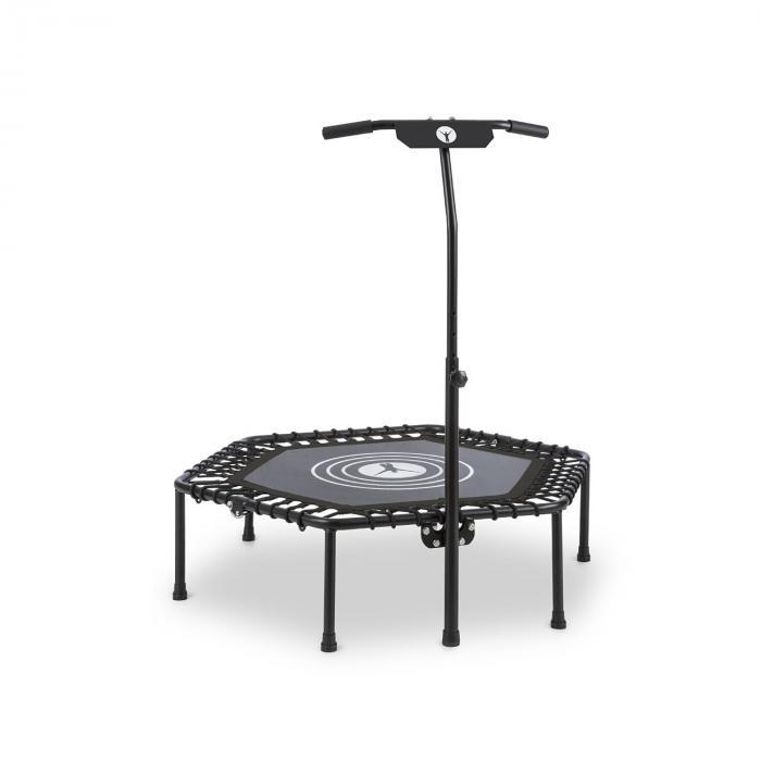 """KLARFIT Jumpanatic trampolina fitness 44"""" / 112 cm Ø drążek z uchwytem składana czarna"""