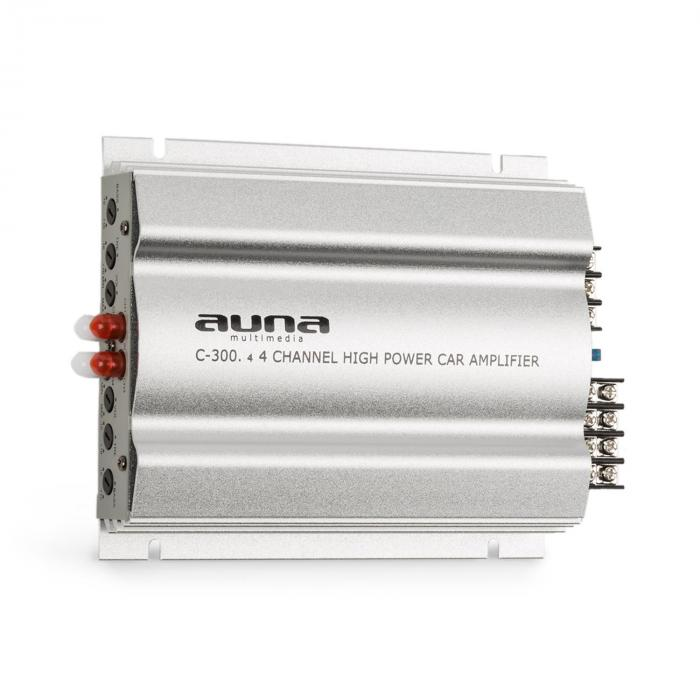 C300.4 4-kanavainen auton päätevahvistin 1200 W PMPO 300 W RMS hopeanvärinen