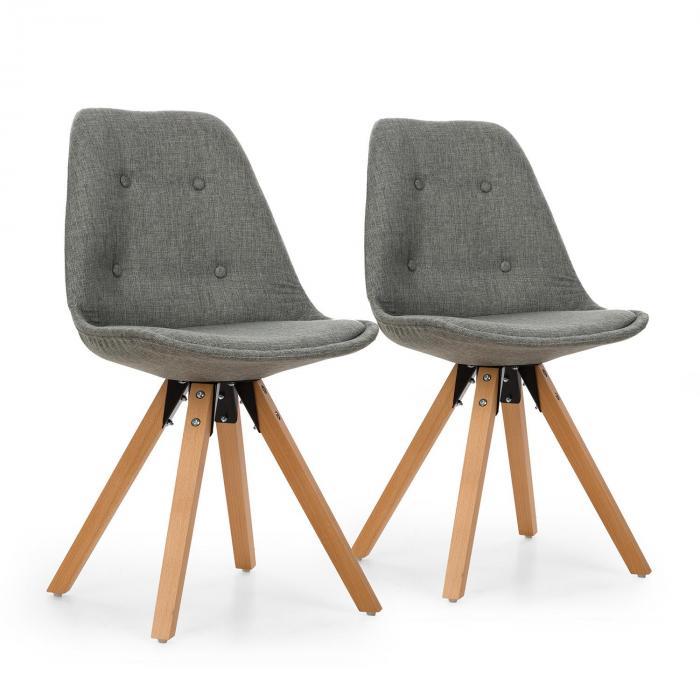 Iseo Set de 2 chaises à coque rembourrée bois de bouleau gris