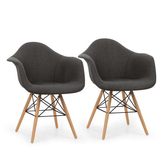 visconti schalenstuhl 2 er set gepolsterte pp schale grau grau online kaufen elektronik star de. Black Bedroom Furniture Sets. Home Design Ideas