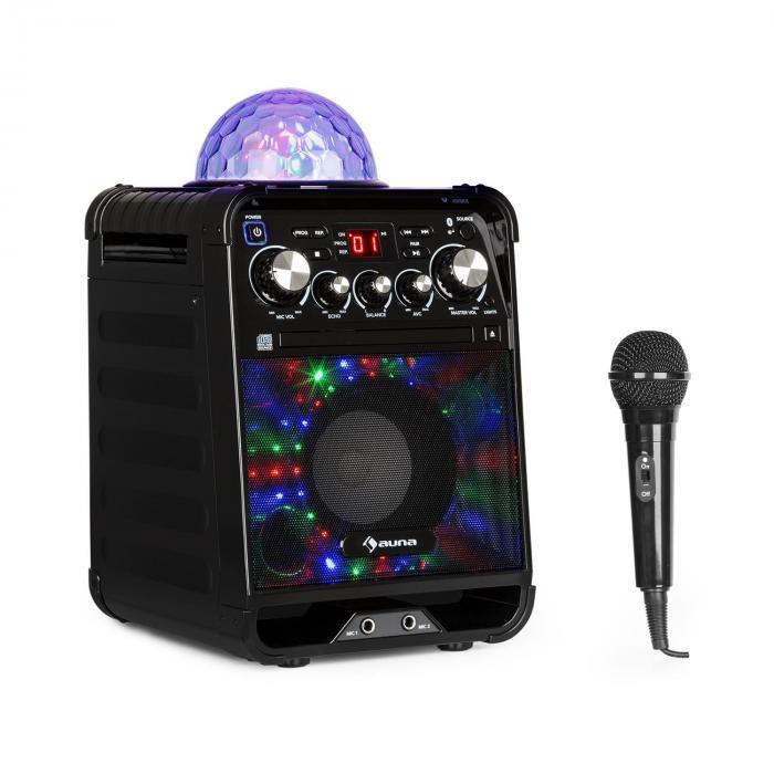Rockstar LED Karaoke System CD Player Bluetooth USB AUX 2 x 6.3mm Black