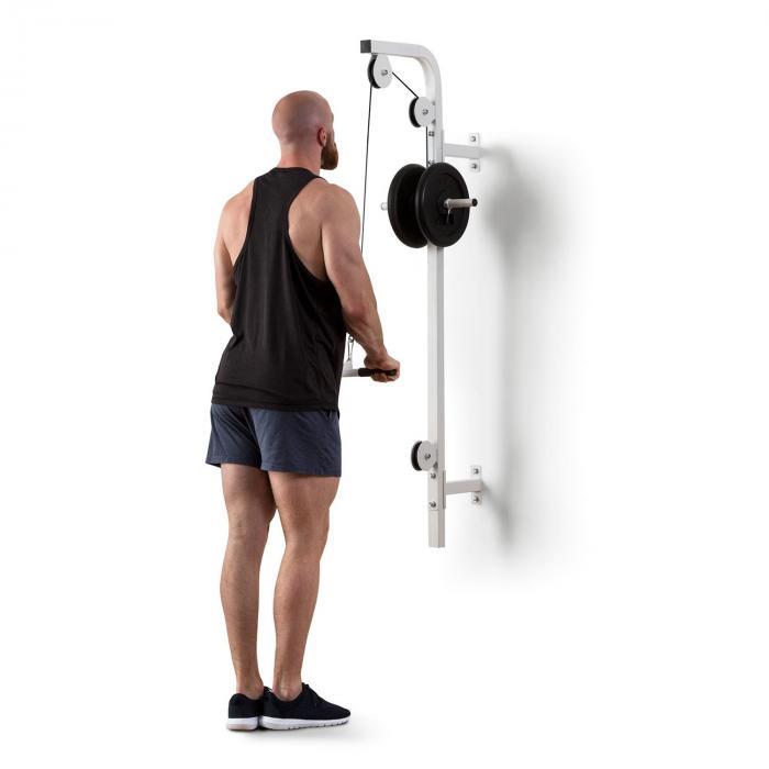 KLARFIT Hangman wyciąg górny do ściany 100kg 2,5m kabel sztanga do treningu tricepsów biały