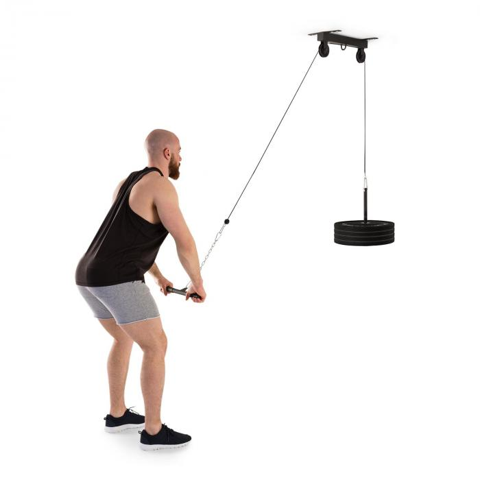 KLARFIT Hangman wyciąg górny sufitowy 2m linka sztanga do treningu tricepsów czarny