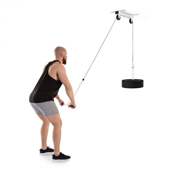 KLARFIT Hangman wyciąg górny sufitowy 2m linka sztanga do treningu tricepsów biały