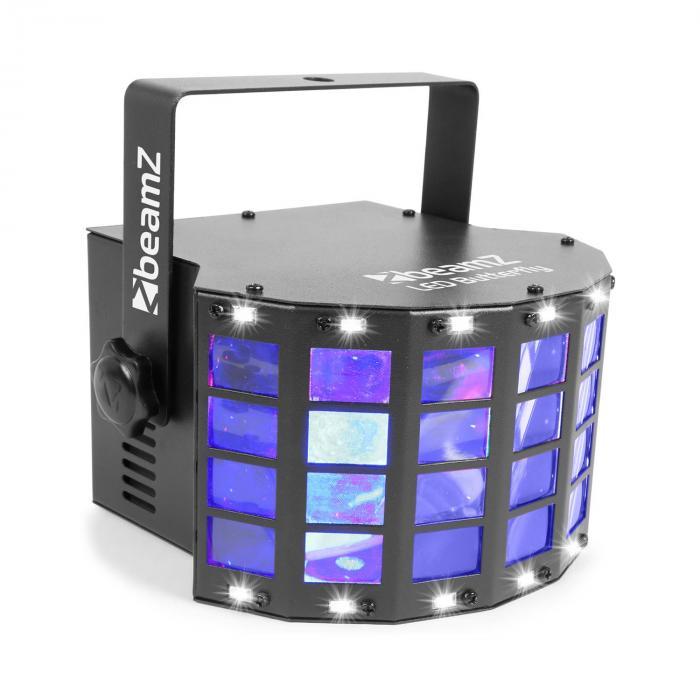LED Butterfly 3 x 3 W RGB + 14 x SMD stroboskooppi musiikkiohjaus ja automaattinen tila