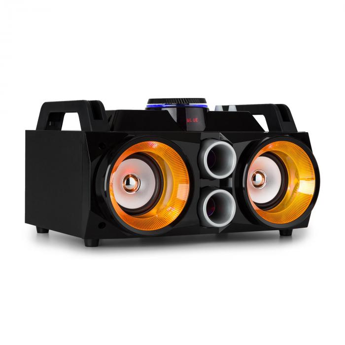 "Fenton MDJ100 Media-Player USB SD BT AUX 100W Förstärkare 2x4"" Speaker RGB-LED"