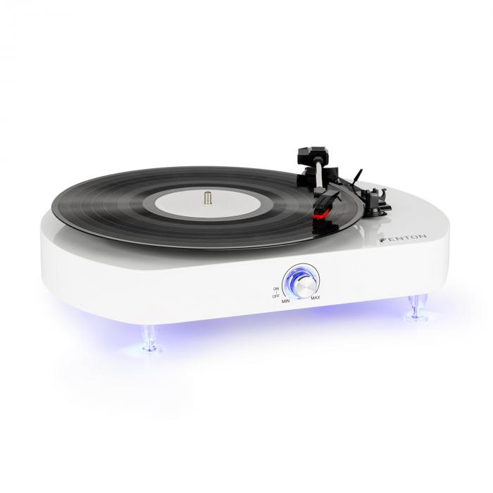 RP125 levysoitin stereokaiuttimet 33, 45 ja 78 rpm valkoinen