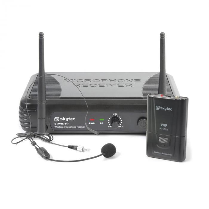 Skytec STWM711H Minizestaw mikrofon nagłowny VHF nadajnik i odbiornik czarny