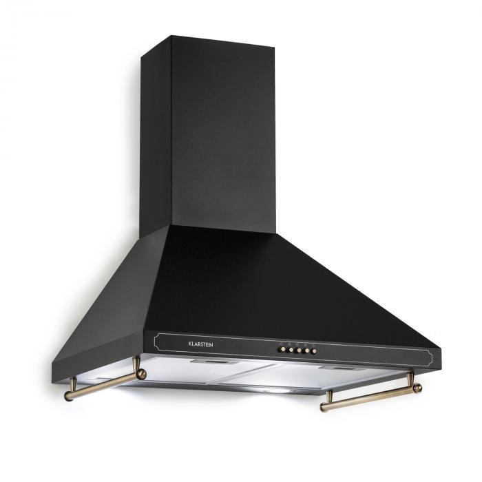 Victoria Cooker Extractor Hood Retro Design 600m³ / h 2 LED Lamps Black