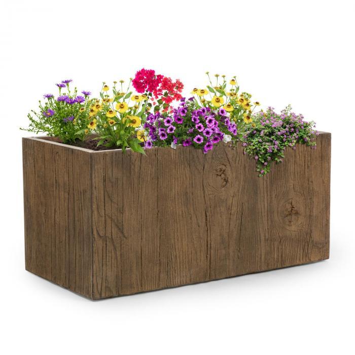 Timberflor Pflanztopf 100 x 45 x 45 cm Fiberglas In-/Outdoor braun