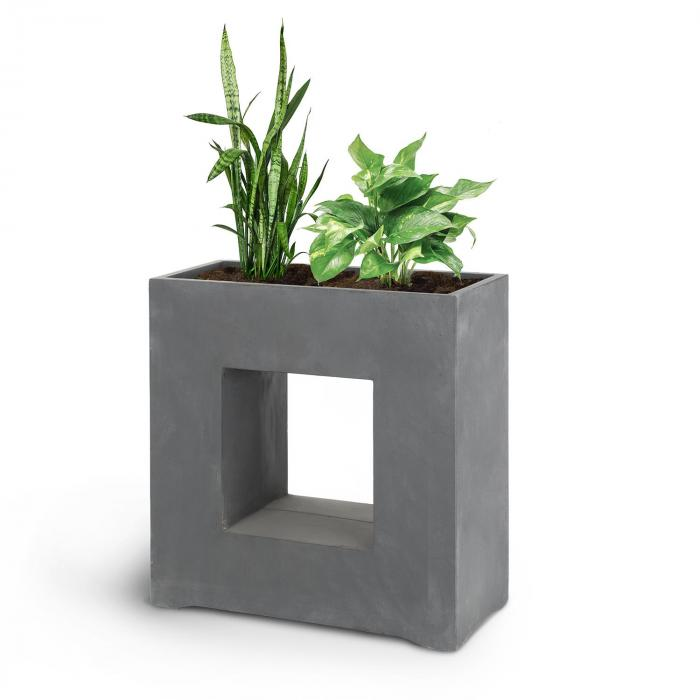 Airflor Plant Pot 70 x 70 x 27 cm Fiberglass Indoor / Outdoor Dark Grey