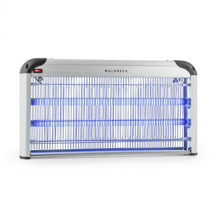 Waldbeck Mosquito Ex 6000 lampa owadobójcza pułapka na owady 43V światło UV  200m² srebrna