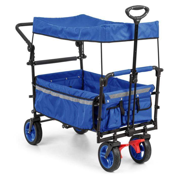 Waldbeck Easy Rider Ręczny wózek transportowy z dachem do 70 kg drążek teleskopowy kolor niebieski