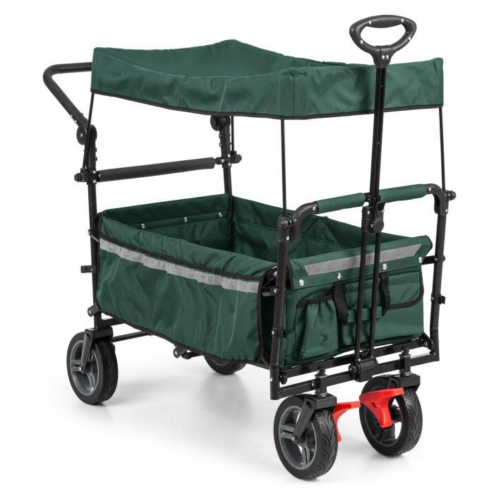 Waldbeck Easy Rider Wózek transportowy z dachem do 70 kg drążek teleskopowy kolor zielony