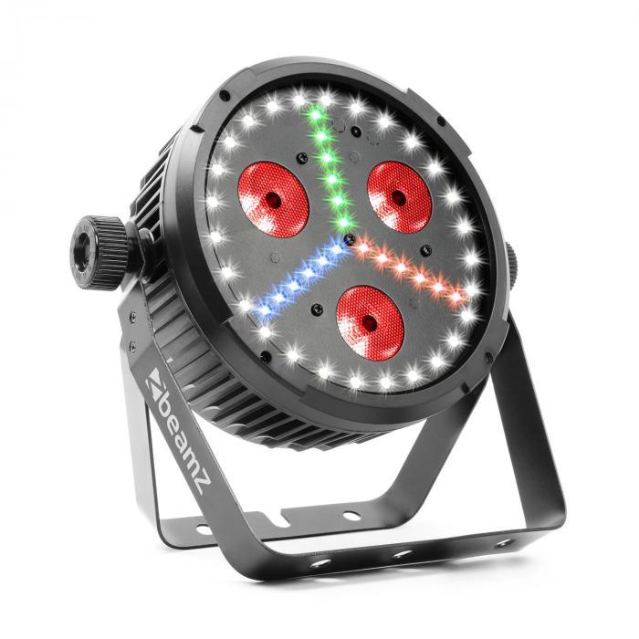 Beamz BX30 PAR Projektor LED 3 x dioda LED 10 W 4w1, 27x dioda LED SMD W, 18x dioda LED SMD RBG kolor czarny