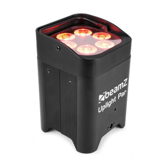 Beamz BBP96 Uplight PAR Projektor LED 6 x 12 W 6 w 1 diody LED RGBAW-UV 72 W akumulator 12,6 V/10,4 Ah kolor czarny