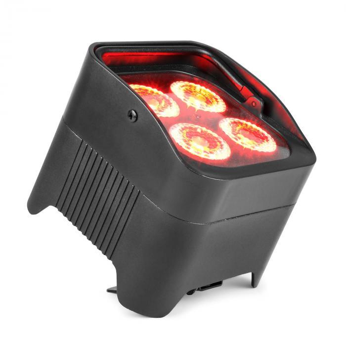 Beamz BBP94 Uplight PAR projektor LED 4 x 10 W 6 w 1 diody LED RGBAW-UV 48 W akumulator 12,6 V/ 7,8 Ah kolor czarny