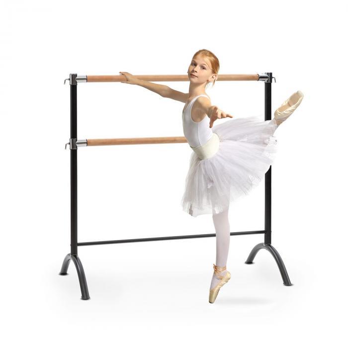 KLARFIT Barre Anna podwójny drążek baletowy wolnostojący 110 x 113 cm 2 x 38 mm Ø
