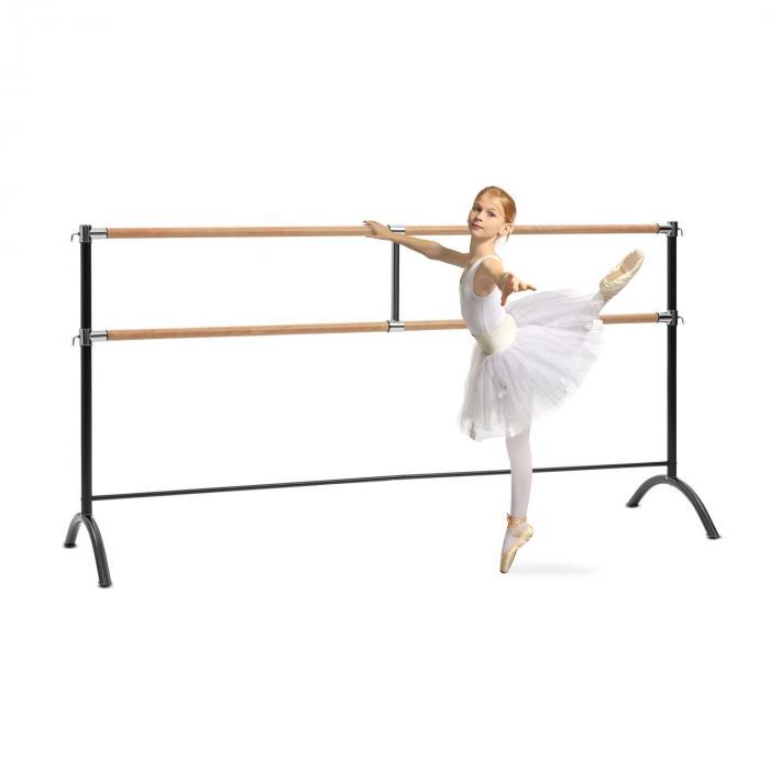 KLARFIT Barre Anna podwójny drążek baletowy wolnostojący 220 x 113 cm 2 x 38 mm Ø