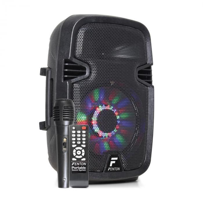 """Fenton VS212 Aktiv Party-Box 2400 watt 2x12"""" sub BT USB SD LED"""