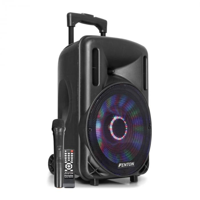 "Fenton FT10LED Aktiv-högtalare 10"" 450W BT/USB/SD/AUX LED batteri trolley"