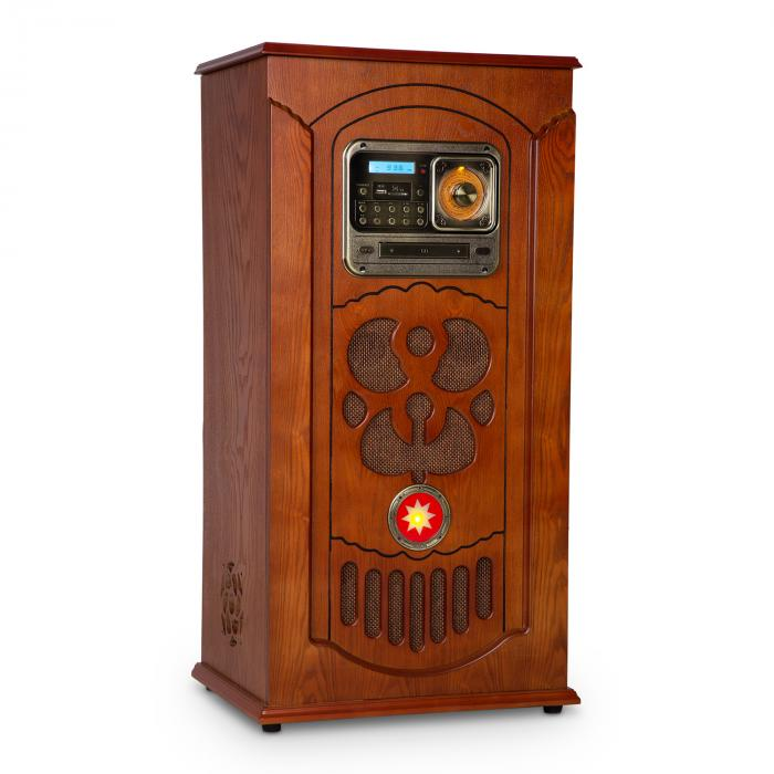 Auna Musicbox Jukebox, vinylspelare, CD-spelare, BT, USB, SD, FM-radio, trä