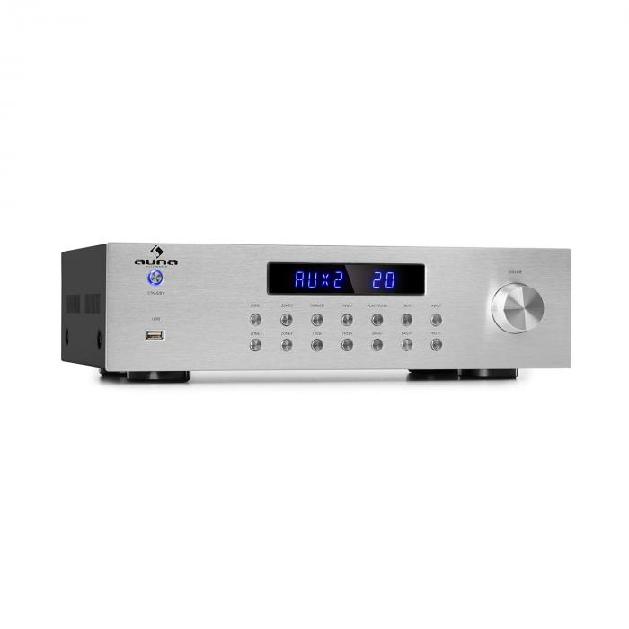 AV2-CD850BT amplificatore stereo a 4 zone 5x80W RMS Bluetooth USB FM argento
