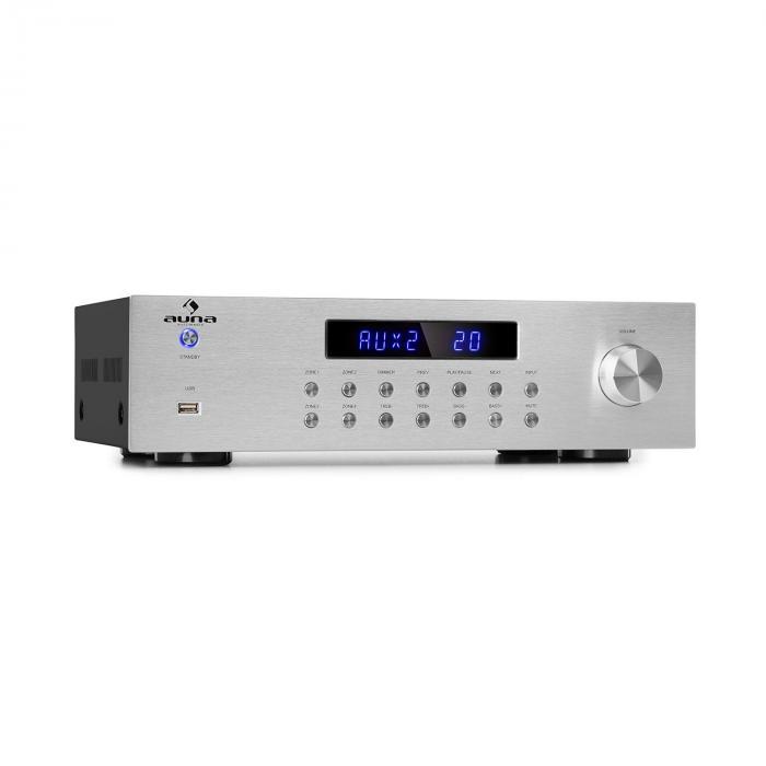 Auna AV2-CD850BT wzmaczniacz stereo 4-strefowy 5x80W RMS Bluetooth USB FM srebrny