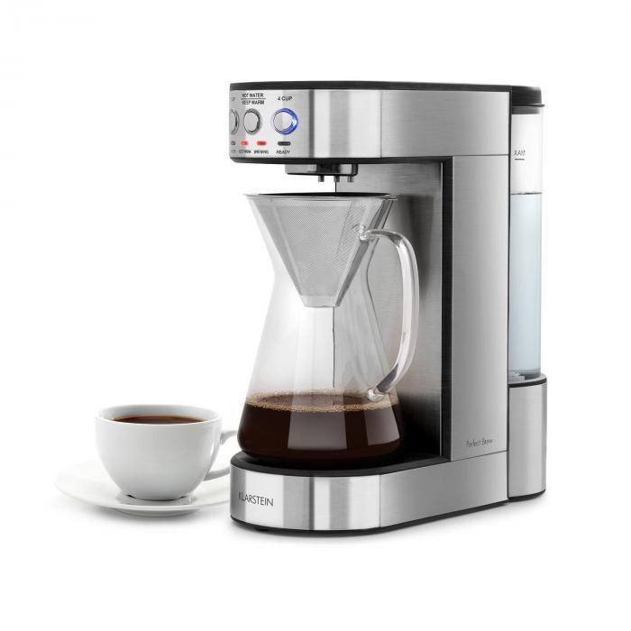 Klarstein Perfect Brew ekspres do kawy 1800W szkalny dzbanek stal nierdzewna srebrny