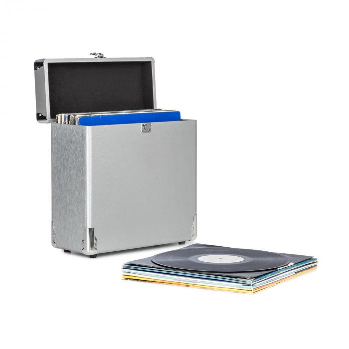 Vinylbox Alu walizka na 30 płyt winylowych wieko na zawiasach srebrna