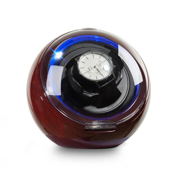 St.Gallen Deux horlogeopwinder 1 horloge 4 modi blauwe leds rozenhoutoptiek