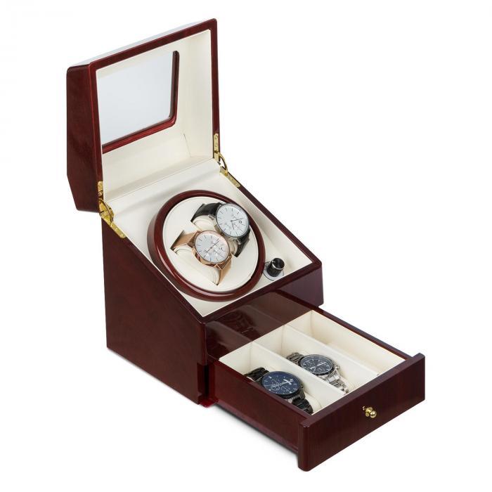 Klarstein Geneva Rotomat 2 zegarki 4 tryby szufladka imitacja drewna różanego