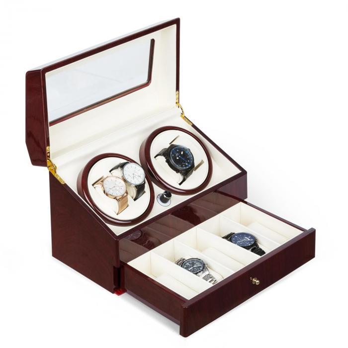 Klarstein Geneva Rotomat 4 zegarki 4 tryby szufladka imitacja drewna różanego