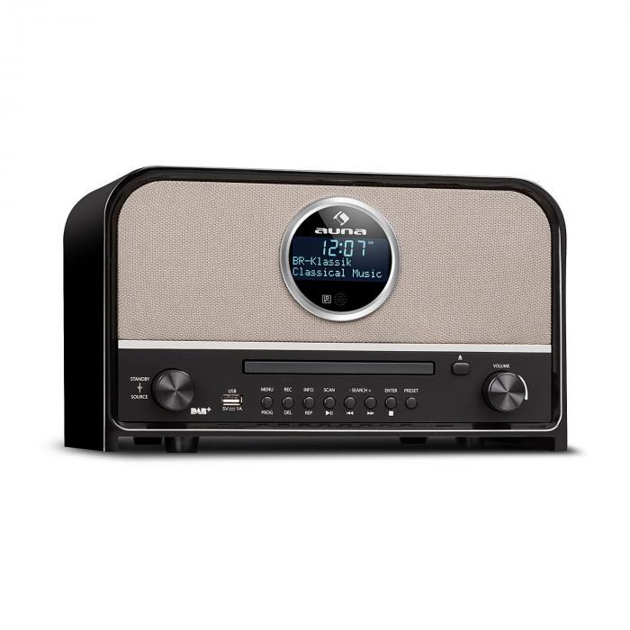 Auna Columbia radio DAB maks. 60 W tuner CD DAB+/UKWBT MP3 USB czarne