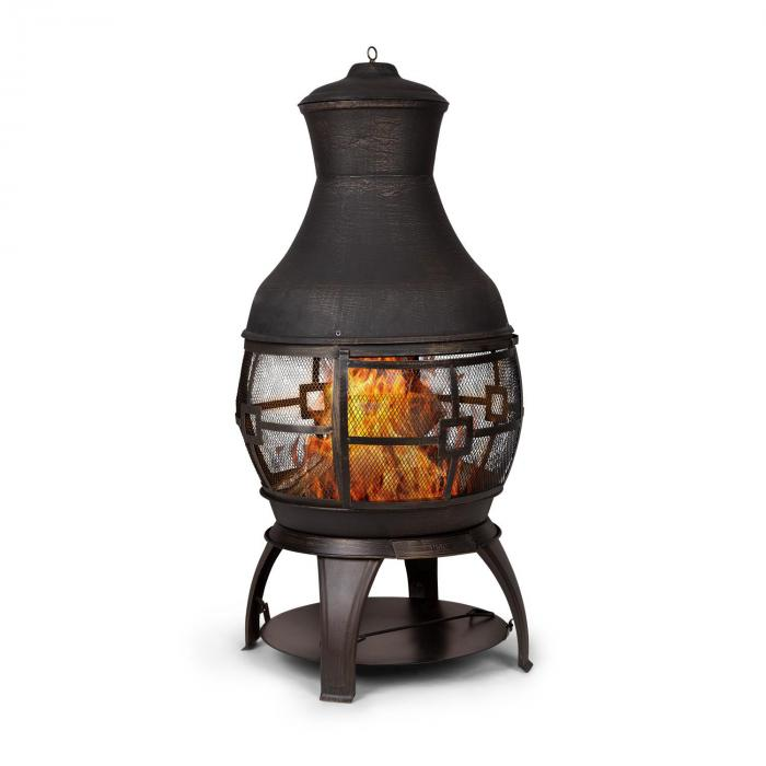 Blumfeldt Titus Garden Fireplace Cast Iron 360 ° FireView Stainless Safe Stand