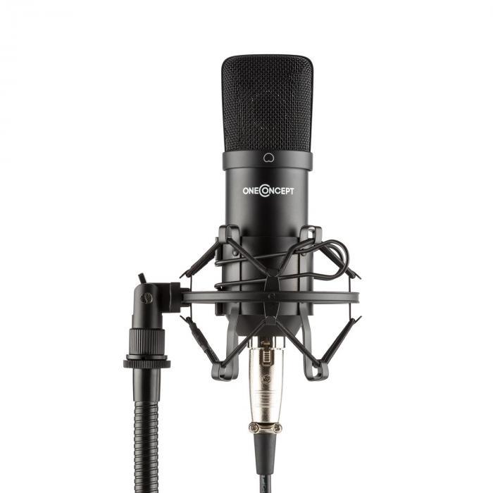 OneConcept Mic-700 Mikrofon studyjny Ø 34 mm jednokierunkowy uchwyt/pająk mikrofonowy osłona przed wiatrem XLR czarny
