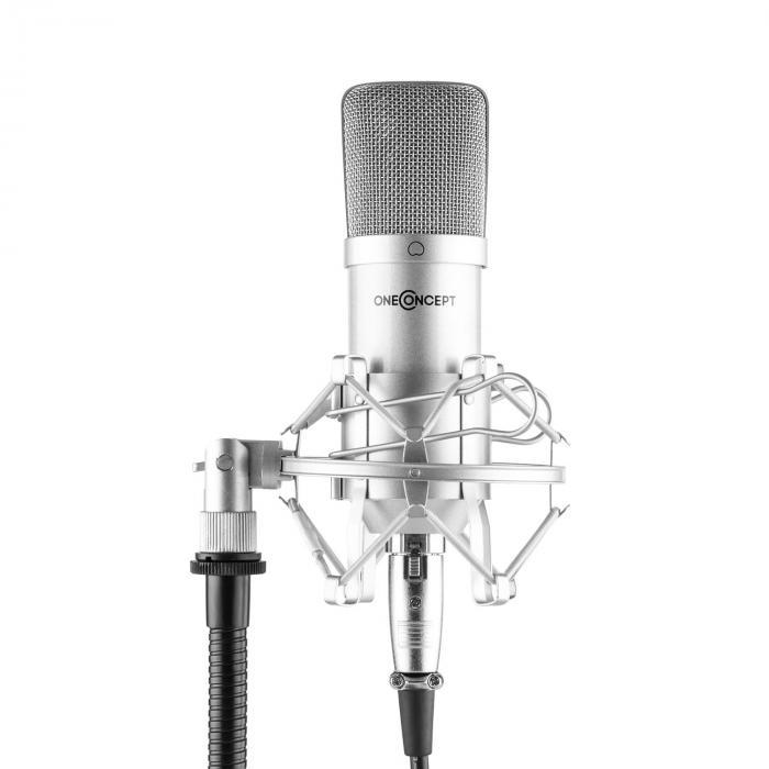 OneConcept Mic-700 Mikrofon studyjny Ø 34 mm jednokierunkowy uchwyt/pająk mikrofonowy osłona przed wiatrem XLR srebrny