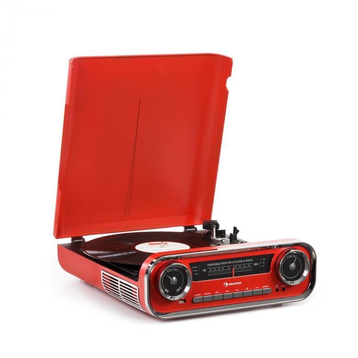 auna Challenger LP skivspelare Bluetooth FM-radio USB röd d4e9ae5b7c2eb