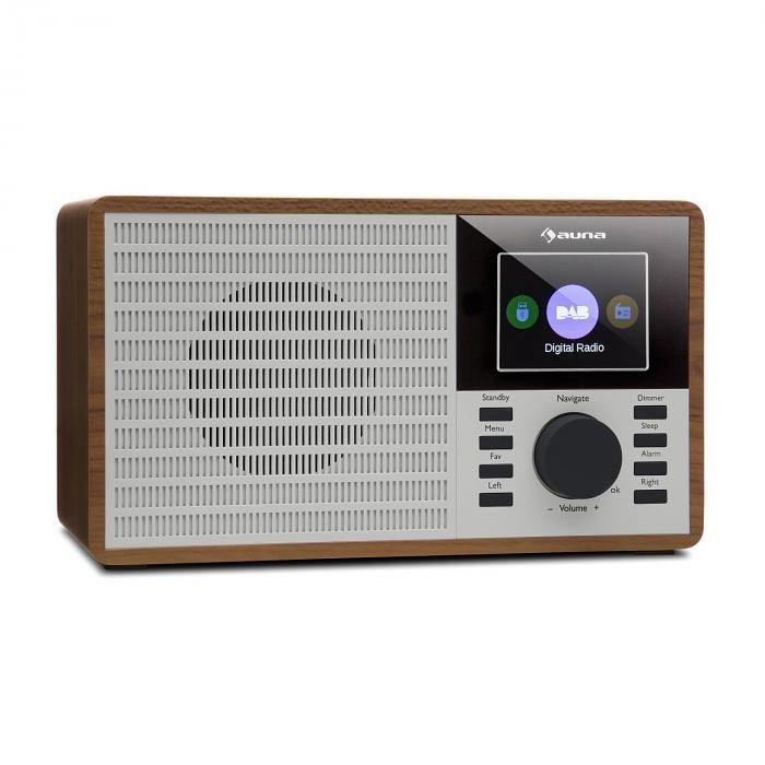 """Auna DR-160 BT Radio DAB+/FM USB AUX  2.4"""" wyświetlacz TFT pilot zdalnego sterowania kolor drewna"""