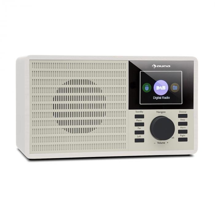"""Auna DR-160 BT Radio DAB+/FM USB AUX  2.4"""" wyświetlacz TFT pilot zdalnego sterowania kolor biały"""