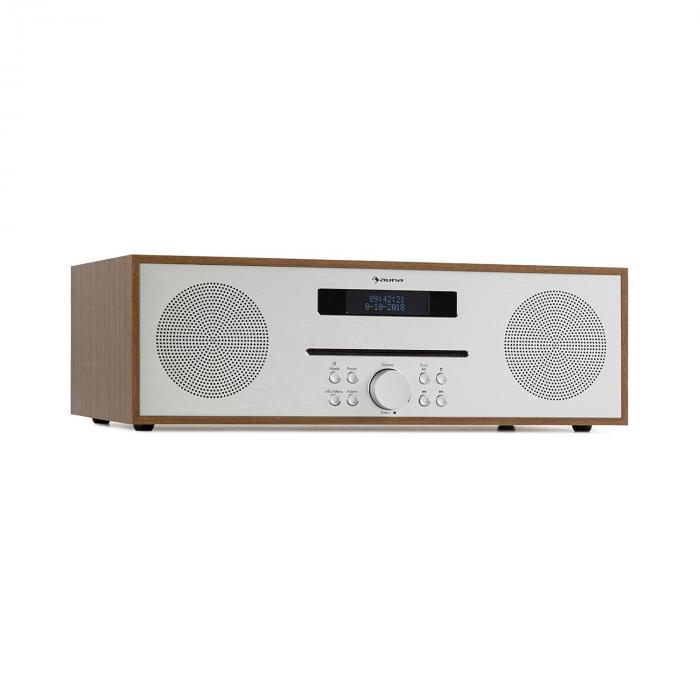 Auna Silver Star CD-FM Odtwarzacz CD/radio 2 x 20 W maks. Slot-In UKF BT aluminium kolor brązowy